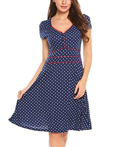 ACEVOG Damen Vintage Gepunktetes Kleid Sommer Knielang mit Kurzarm V Ausschnitt elegant Jersey Kleid Freizeitkleid (L, Blau)