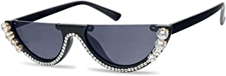 SunglassUP Half Moon Diamond Studded Rhinestone Sunglasses Semi-Rimless Embellished Cat Eye Clout Frame