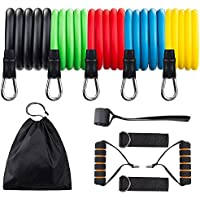 Redess 11-Piece Resistance Band Set with Door Anchor, Handles, Waterproof Carry Bag, Legs Ankle Straps