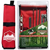Chainsaw Sharpener File Kit – Includes Flat, 5/32, 3/16, 7/32 Inch Round Files, Depth Gauge Tool, Filing Guide, Wood Handle & Bright Red Pouch – for Sharpening Chain Saw Blades - 8 Piece Combo Set