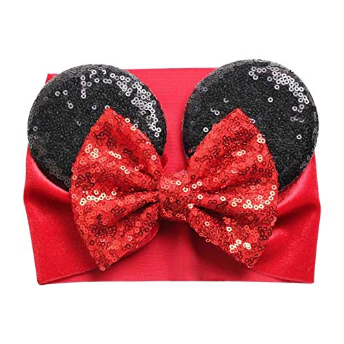 Baby and Toddler Mouse Ears Sequin and Velvet Wide Headband With Bow
