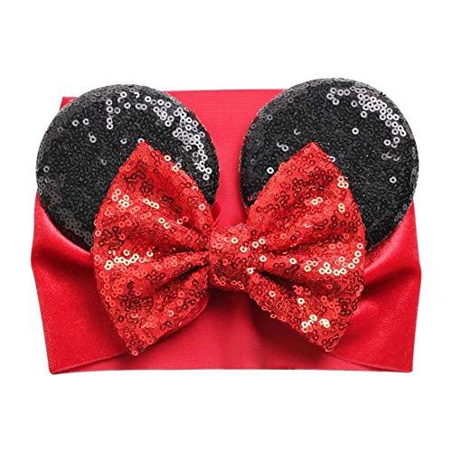 Diadema con orejas de Minnie Mouse con lazo para niña - Terciopelo rojo y negro y lentejuelas - para disfraz de cumpleaños Disney Trip