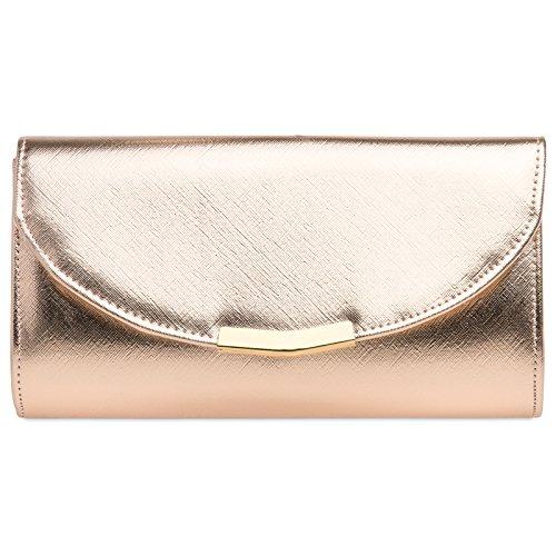 Caspar TA360 Donna Pochette da Sera Elegante Clutch Metallizzata/Opaca, Colore:oro rosa, Dimensioni:Taglia unica