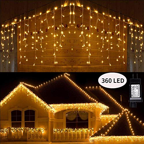 Toodour LED Icicle Lights, 360 LED 29.5ft 8 Modes Window Curtain Fairy Lights with 60 Drops, Led Christmas Lights, Icicle Fairy Twinkle Lights for Party, Holiday, Wedding Decorations (Warm White)