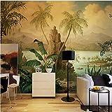 NXMRN Personnalisé Fond D'Écran 3D Art Mur Paysage Peinture À L'Huile Tropical Rainforest Banane Papier Peint Arbre De Noix De...