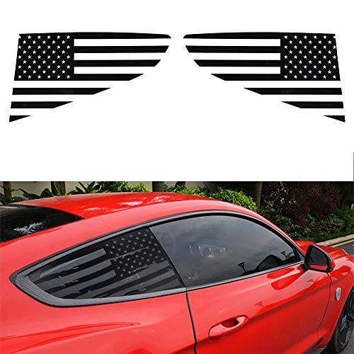 XHSM For Ford For Mustang 2015 2016 2017 2018 2019 2020 Car Rear Triangle Window Cover Trim Decorative Sticker Decal Parts (Color : BLack, Size : A)