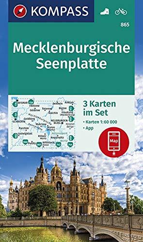 KOMPASS Wanderkarte Mecklenburgische Seenplatte: 3 Wanderkarten 1:60000 im Set inklusive Karte zur offline Verwendung in der KOMPASS-App. Fahrradfahren. (KOMPASS-Wanderkarten, Band 865)