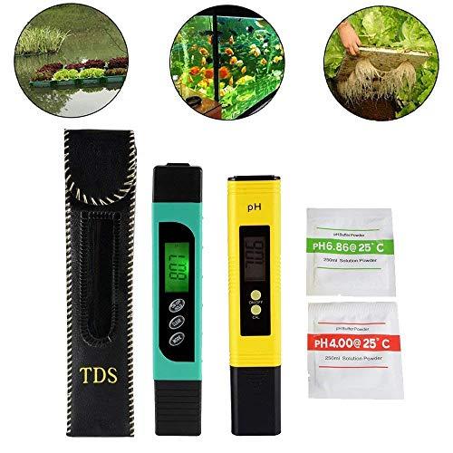 3in1 TDS + EC + Temp Meter und Digital LCD pH Meter mit Auto Kalibrierung Funktion, Genauigkeit Wasser Qualität Monitor Pen Style Portable Tester für Trinkwasser, Hydroponik, Gartenarbeit