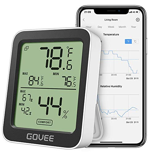 Govee Thermometer Hygrometer, Accurate Indoor Temperature Humidity Sensor with Notification Alert, LCD Bluetooth Temp Humidity Monitor with Data Storage for House Garage Greenhouse Wine Cellar