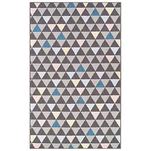 SUPERIOR Pastel Aztec Collection Area Rug, 6mm Pile Height with Jute Backing, Affordable and Contemporary Rugs, Multicolored Geometric - 2' x 3' Rug, Slate