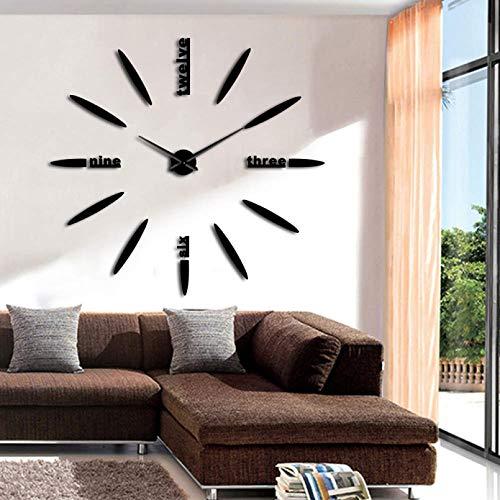 YQMJLF Reloj Pared DIY 3D Grande DIY Letras Reloj de Pared Reloj de Pared diseño Moderno sin Marco silencioso Gigante 3D Reloj de Pared de Cuarzo Reloj Espejo Pegatina decoración Negro