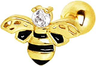 16 Gauge 1/4 Inch Yellow Gold Plated Jeweled Bumblebee Ear Cartilage/Helix Cuff 316L Surgical Steel Barbell A171