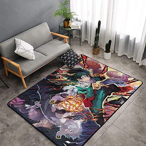 ZWPY Anime Cartoon Peripheral Carpet Area Rug Rectangle Carpet Decor Floor Rug My Hero Academia Pattern, for Kitchen/Living Room/Bedroom,100x160cm