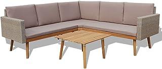 vidaXL Juego de Sofás de Jardín 4 Piezas Muebles de Exterior Mesa y Sillas Mobiliario de Patio Exterior Terraza y Poli Ratán Sintético Gris Mimbre