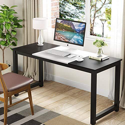 Tribesigns - Escritorio para ordenador, 55 pulgadas, grande, para oficina, estudio, escritorio, para casa, oficina, color negro y blanco