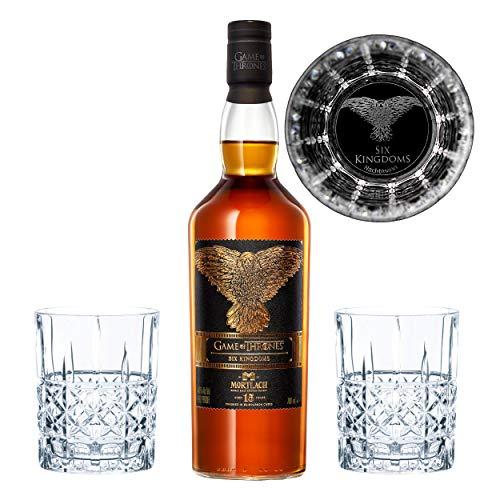 Game of Thrones The Six Kingdoms Set, Mortlach 15 J. Whisky + 2 gravierte Whiskygläser Dreiäugiger Rabe, Schnaps, Alkohol, 40%, 700 ml