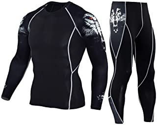 HEROBIKER Men's Workout Set Compression Shirt and Pants Top Long Sleeve Sports Tight Base Layer Suit Quick Dry & Moisture-Wicking