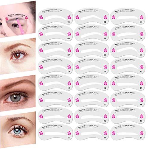 Augenbrauen schablonen installationssatz, Transparente wiederverwendbare Augenbrauenschablone, 24 Stile Augenbrauen Schablone, DIY Augenbrauenform Vorlage