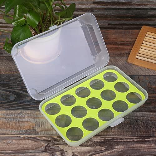 Organizador de nevera, 15 rejillas para huevos, bandeja de plástico para guardar huevos, contenedor de almacenamiento para refrigerador, alimentos y cocina (verde)