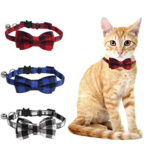 SLSON 3 Stück Katzenhalsbänder,Verstellbare Katzenhalsbänder mit Sicherheitsschnalle und Glocke, Anti-Strangulations Katzenhalsbänder mit Schleife Krawatte für Mädchen und Junge Kitten