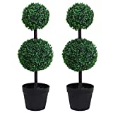 Outsunny Set of 2 Artificial Boxwood Ball Topiary Trees