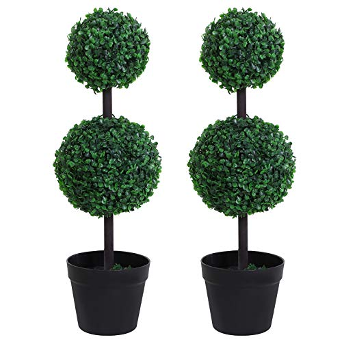 Outsunny Set of 2 Artificial Boxwood Ball Topiary Trees Potted Decorative Plant Outdoor and Indoor Décor (67cm)