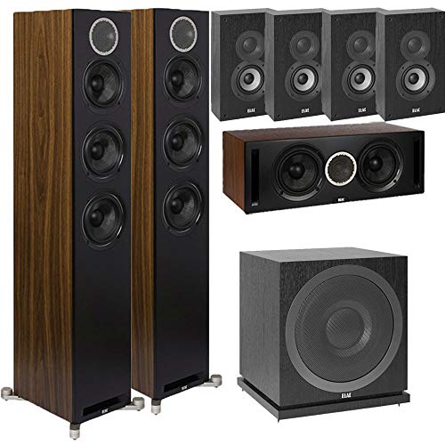 Sale!! ELAC Debut Reference DFR52 7.1 Home Theater System with On-Wall Surrounds - Black/Walnut - DC...