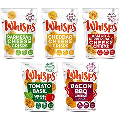 Whisps Cheese Crisps Variety Pack | Keto Snack, No Gluten, No Sugar, Low Carb, High Protein
