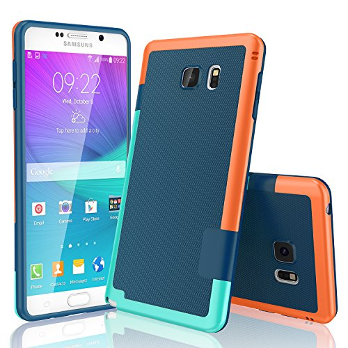 Galaxy Note 5 Case, TILL(TM) Ultra Slim 3 Color Hybrid Impact Anti-Slip Shockproof Soft TPU Hard PC Bumper Extra Front Raised Lip Case Cover for Samsung Galaxy Note 5 V SM-N920 [Blue]