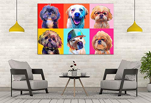 Custom POP Art Pet Portrait, Andy Warhol Style POP Art Canvas, Dog Lover Gift, Digital Pet Painting, Mulitple Pets, Large Modern Wall Decor