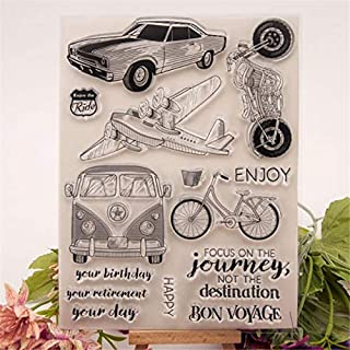 Welcome to Joyful Home 1pc Car Plane Motor Journey Rubber Clear Stamp for Card Making Decoration and Scrapbooking