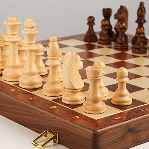 LAIDEPA Juego de Tablero ajedrez Madera Profesional, Tablero ajedrez Lujo Plegable, Juego táctico clásico, Juguetes educativos, Regalo Empresa,45 * 45cm