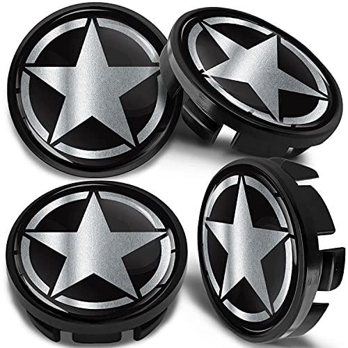 SkinoEu 4 x 65mm Tapas de Rueda de Centro Centrales Llantas Aluminio Tapacubos Compatibles con VW/Skoda 3B7601171 / 6U7601171 US Army Star Estrella Plata CV 43