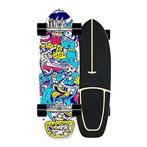XKAI Negro Monopatín Surf Skateboard para Principiantes Skateboard Adulto Longboard Completa Skate 7 Capas Maple Deck para Adolescentes Adultos Dancing, con rodamientos ABEC-9, 75×23cm