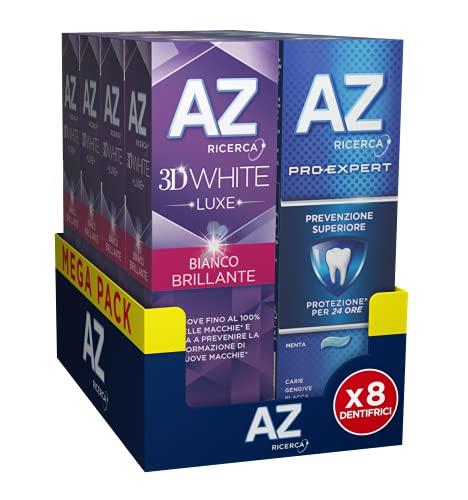 AZ Dentifrici 3DWhite Luxe Bianco Brillante e Pro-Expert Prevenzione Superiore, 8 Confezioni