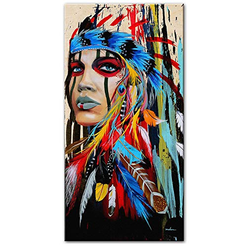 HANSHUIHONG Imprimir en Lienzo Pop Art Indian Girl Canvas Art Pinturas murales Acuarela Mujer India con Plumas Carteles e Impresiones para Sala Decoración de Pared 70x140cm Sin Marco