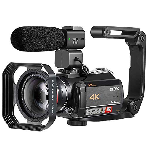 4K Video Camera Camcorder ORDRO HDR-AC5 Vlog Camera 12X Optical Lens 3.1 IPS Ultra HD 1080P 60FPS Digital Camera Recorder WiFi Camcorders with Microphone Wide Angle Lens and Handheld Stabilizer