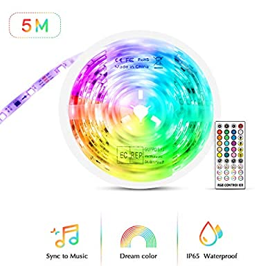 Led Strip Lights Sync to Music, Tasmor 5050 RGB Light Color Changing with Music IP65 Waterproof LED Rope Light with Controller for Home, Room, Bar, Party