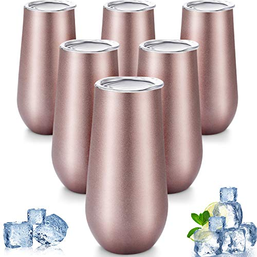 6 Pieces Stemless Champagne Flutes Double-insulated Champagne Tumbler with Lips, 6 OZ Stainless Steel Unbreakable Cocktail Cups for Coffee Wine Glass Tumbler (Rose Gold)