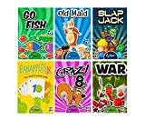 Regal Games Classic Card Games - Games Included May Vary - Includes Old Maid, Go Fish, Slapjack, Crazy 8's, War, and (Silly Monster Memory Match or Banapples Jr) (All 6 Games)