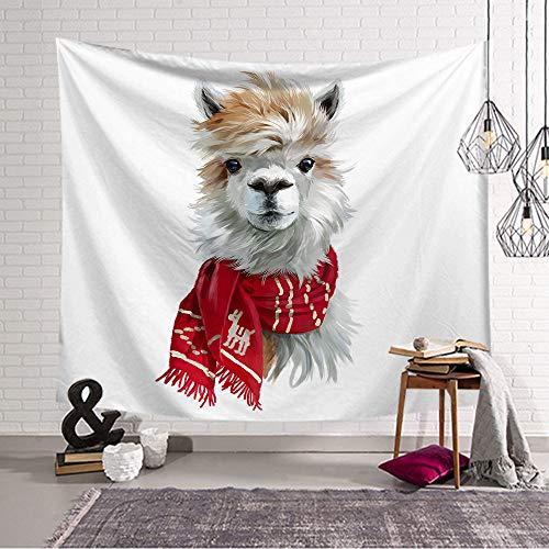 Tapestry Wandtapijt, eenvoudige vintage, cartoon schattig alpaca met sjaal, wanddecoratie van de kamer, wandtapijt, hippie decoratie, wanddoek, wandtapijt, strandhanddoek, woondecoratie 130X150CM