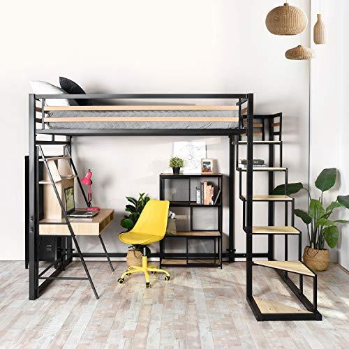 FURNISH 1 Lit Mezzanine Adulte en métal Noir et Effet Transfert Bois avec sommier tapissier + échelle MDF + Rangement-Matelas...
