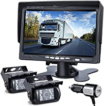 DVKNM Upgrade Dual Backup Camera Monitor Kit,7-inch LCD1280X720P HD,IP69 Waterproof Rearview Reversing Rear View Camera Reversing Monitor Truck/Semi-Trailer/Box Truck/RV — HD Transmission— (TZ102)