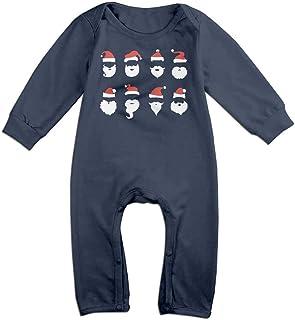 MUAIKEJI Santa Claus Beard and Hat Set Long Sleeve Baby Romper Bodysuit Outfits