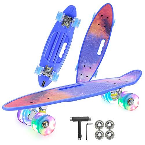 HBHHYRT Cruiser Skateboard 22 Inch Skateboard Completo Conveniente con Ruedas Intermitentes para Niños, Adolescentes, Principiantes