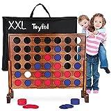 Toyfel Conecta 4 XXL - Juego de Mesa Gigante - Cuatro en Raya - El Juego clásico de Madera FSC para Dentro y Fuera - para niños y Adultos a Partir de 4 años - Juegos de Mesa - Ace
