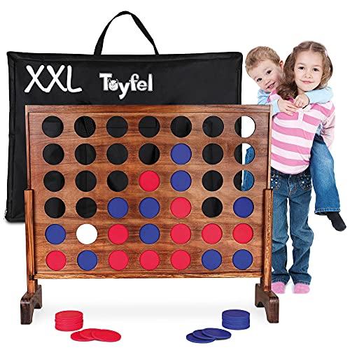Toyfel Gioco da tavolo Forza 4 XXL Ace - Forza Quattro - Connetti 4 Gioco da interni o esterni - 4 di fila Gioco di strategia in legno di pino certificato FSC - Gioco per adulti e bambini da 4 anni