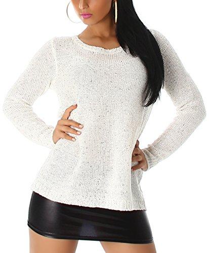 Jela London Damen Pailletten Pullover Longpulli Chiffon-Netz transparent Schlüsselloch Goldkette Sweater Glanz, Weiß
