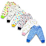 BAYBEE Baby Cotton Pyjamas Pant Bottom Rib-Pack of 6 Assorted Colours & Prints May Vary Sleep Pants-Pyjama for Boys and Girls-Night Wear Pajama Combo Pack of Newborn Baby Multicolored (9-12 Months)