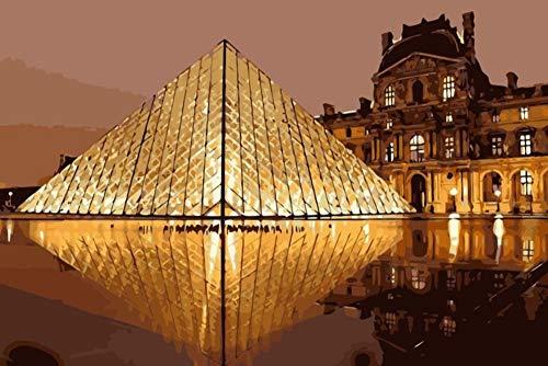 Louvre Pirámide Diy Pintura Al Óleo By Números Europa Paisaje Pintura Acrílica Pintura De Pared Digital Únicos Regalos